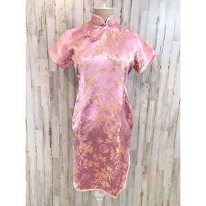 Double Peach Chinese brocade qipao dress size S